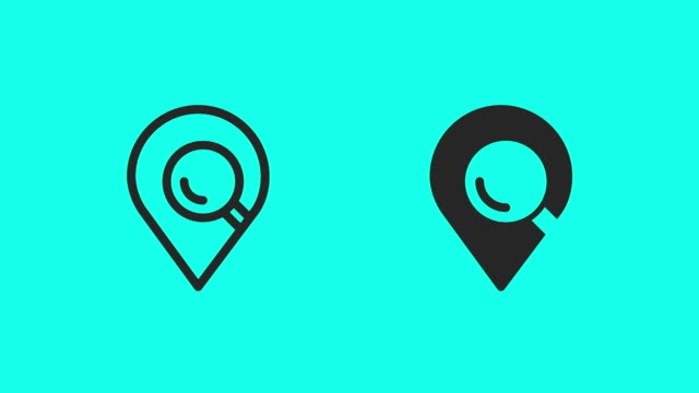 searching location icons - vector animate - map marker stock videos and b-roll footage