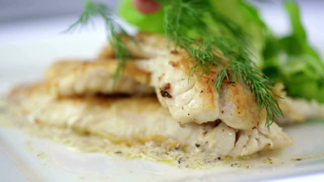 seared filet of sole - 2 shots - dill stock videos and b-roll footage