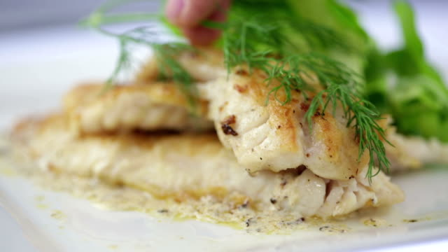 seared filet of sole - dill stock videos and b-roll footage