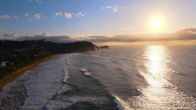seascape and village around avoca beach in central coast at sunrise / new south wales, australia - sunrise dawn stock videos & royalty-free footage