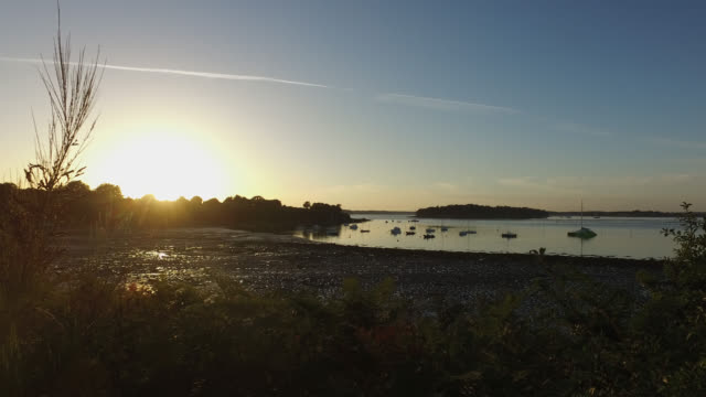 seascape in brittany before sunset - low tide stock videos & royalty-free footage