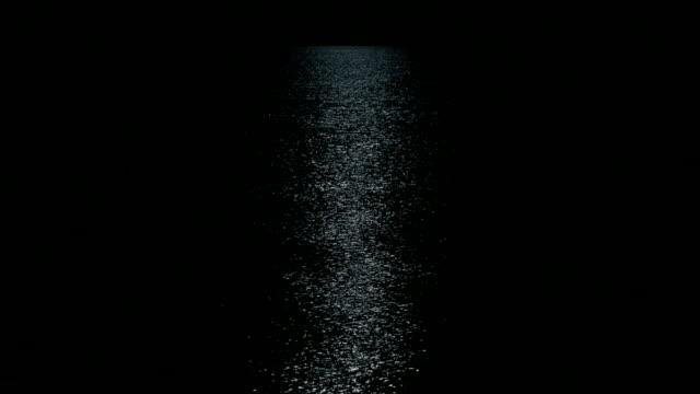 Seascape i månljus natt