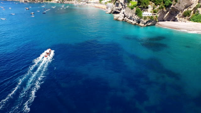 Seascape of a boat sailing at Positano