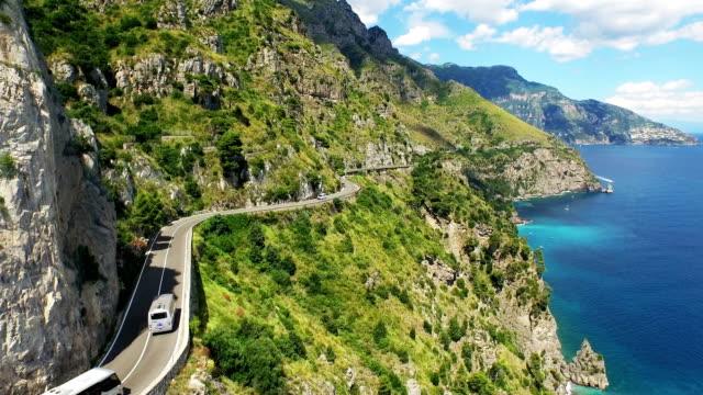 seascape of amalfi coast - amalfi stock videos and b-roll footage
