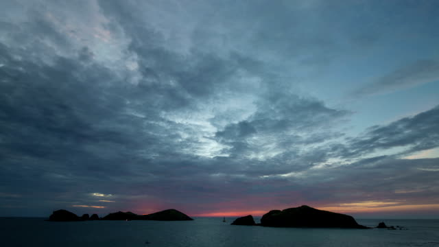 Seascape of Chagwido island with dramatic sky at Sunset