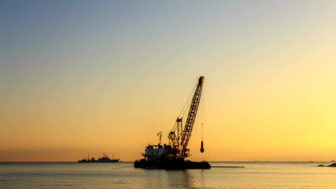seascape of construction site in gonghyeonjin harbor - seascape stock videos & royalty-free footage