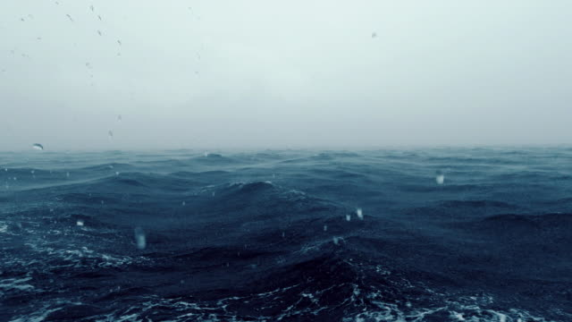 seascape of ocean during extreme weather storm journey boat point of view - boat point of view stock videos & royalty-free footage