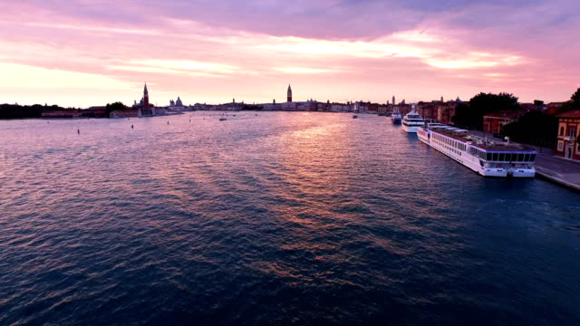 seascape of san giorgio maggiore at sunset - passenger ship stock videos & royalty-free footage
