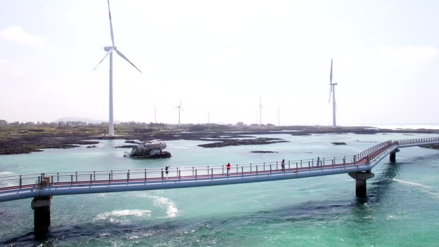 Seascape of Sinchang coast road with wind turbine