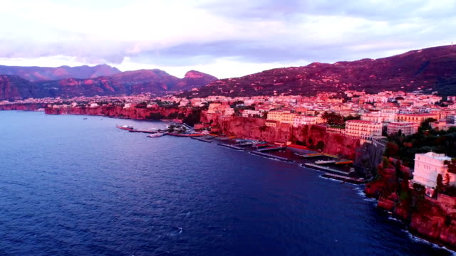 Seascape of Sorrento at sunset