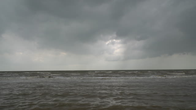 seascape under storm cloud sky - stimmungsvoller himmel stock-videos und b-roll-filmmaterial
