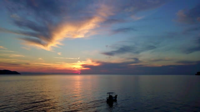seascape under the cloudy blue sky at sunset - seascape stock videos & royalty-free footage