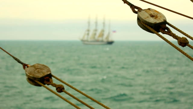 seascape with beautiful tall ship - rigging stock videos & royalty-free footage