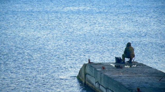 Paesaggio marino con pescatore
