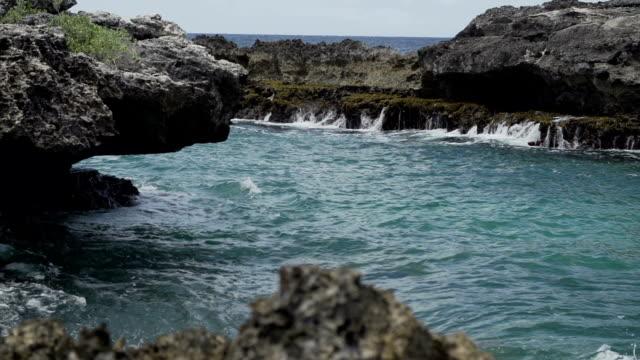 vidéos et rushes de seascape with rocks - guadeloupe