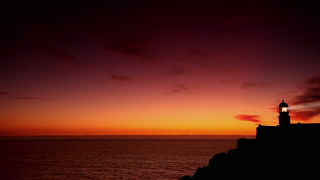 WS Seascape with silhouette of lighthouse at Cape St. Vincent (Cabo de Sao Vicente) at dusk / Algarve, Portugal