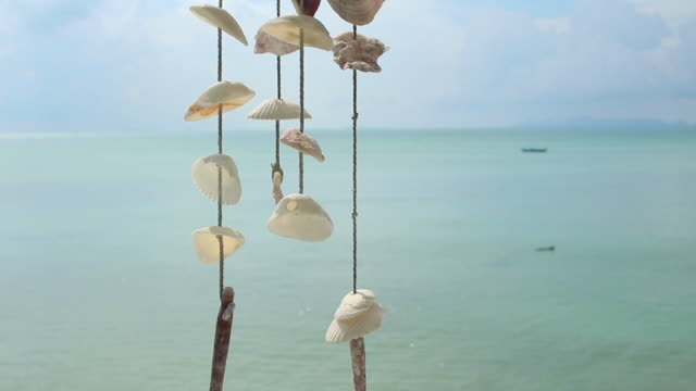 seashell mobile in paradise - seashell stock videos & royalty-free footage
