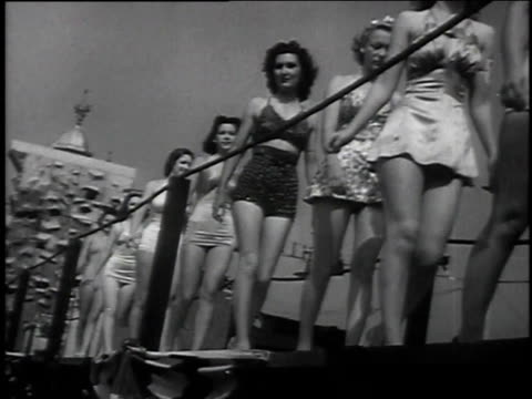 1939 montage seaside beauties competing for title of miss california / venice, california - beauty contest stock videos & royalty-free footage