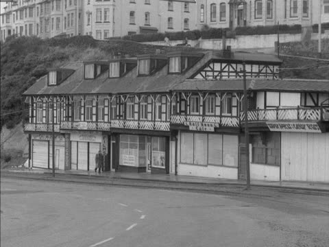 seaside cafeterias and confectionary shops on the isle of man are boarded up for the winter. - isle of man stock videos & royalty-free footage