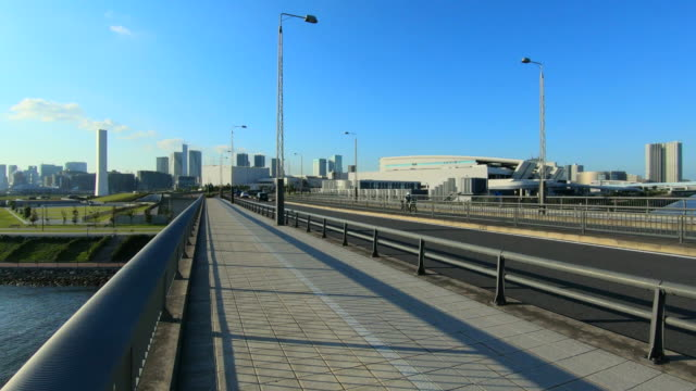 seaside park at tokyo bay / new toyosu fish market - waterfront stock videos & royalty-free footage