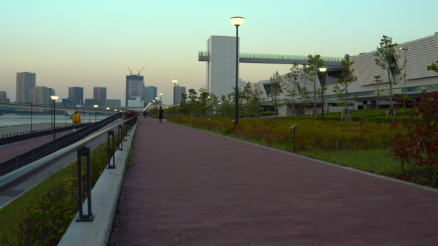 seaside park at tokyo bay - waterfront stock videos & royalty-free footage