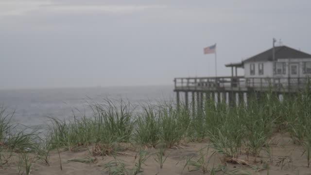 seaside setting focus shift with grass, pier, flag, water, bird, and ship - オオハマガヤ属点の映像素材/bロール