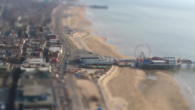 seaside time-lapse and blackpool pleasure beach 3 - blackpool stock-videos und b-roll-filmmaterial