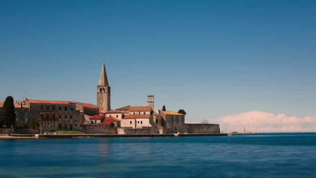 Seaside view at the old town of Porec, Istria, Croatia