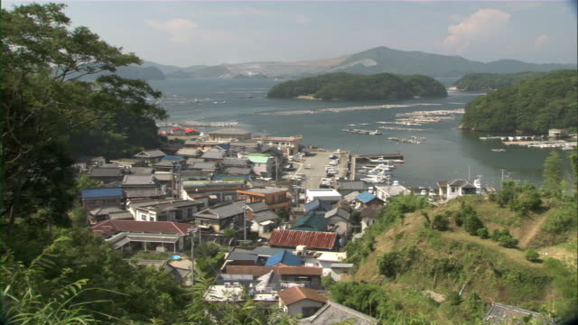 ws ha seaside village with bay and green hills across water / oma, aomori prefecture, japan - aomori prefecture stock videos & royalty-free footage