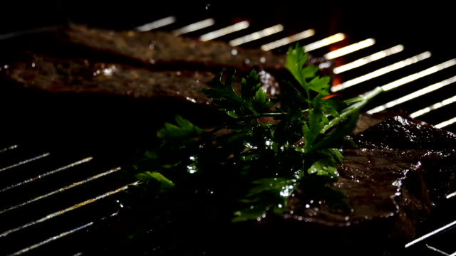 slo mo seasoning grilled meat with parsley - parsley stock videos and b-roll footage