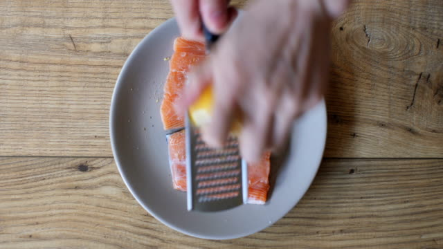 seasoning salmon fillet - salmon stock videos & royalty-free footage