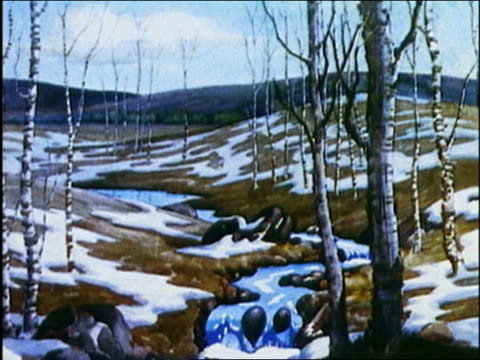 1936 animation seasons changing from winter to spring / audio - four seasons stock videos & royalty-free footage