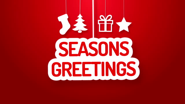 seasons greetings hanging on a wire - animation stock videos & royalty-free footage