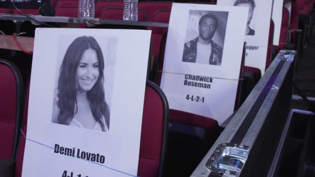 atmosphere seat cards at the 2017 american music awards red carpet roll out and press day on november 16 2017 in los angeles california - american music awards video stock e b–roll
