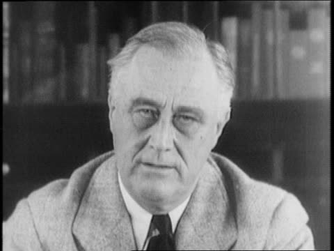 fdr seated at desk wearing black mourning band on arm for mother / roosevelt speaks on civilian defense - the machine: master or slave stock videos & royalty-free footage