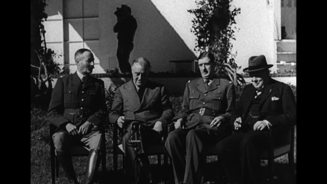 seated on lawn of the anfa hotel for photo opportunity at the casablanca conference l to r henri giraud french high commissioner for north africa us... - 1943 stock videos & royalty-free footage