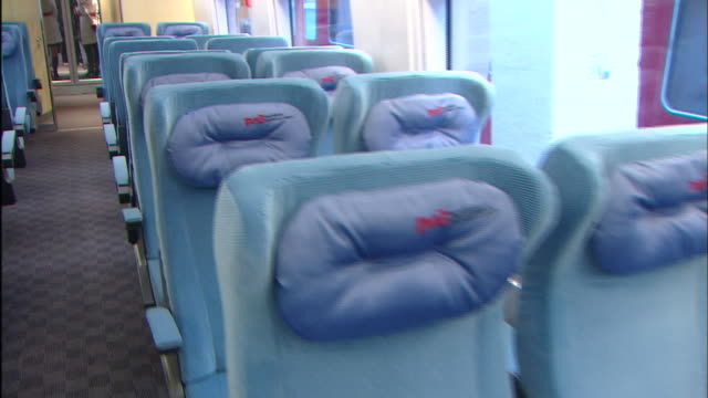 Seats in a Sapsan passenger car have padded headrests
