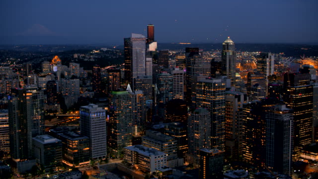 aerial seattle at night - seattle stock videos & royalty-free footage