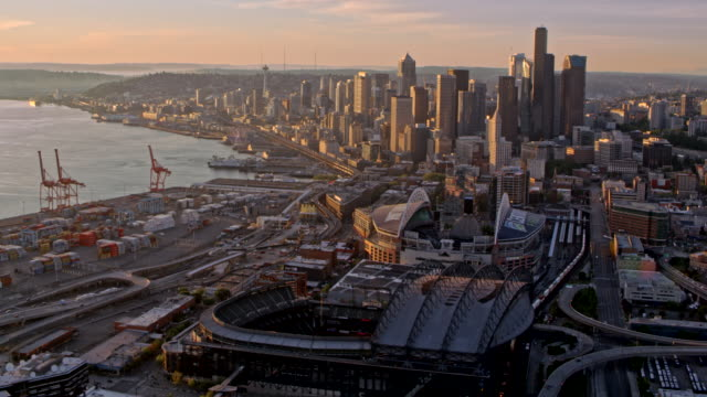 aerial seattle at sunset - smith tower stock videos & royalty-free footage