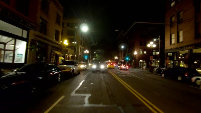 seattle city xiv synced series rear view driving process plate - trolley bus stock videos & royalty-free footage