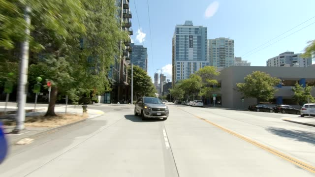 seattle city xxviii synced series rear view driving process plate - city life stock videos & royalty-free footage