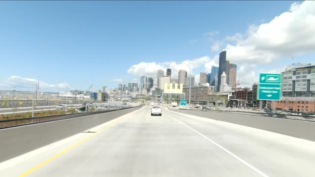 seattle cityscape iii synced series front view driving process plate - washington state stock videos & royalty-free footage