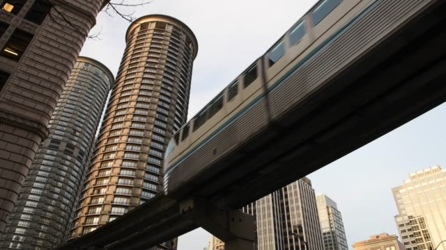 seattle commute - monorail stock videos & royalty-free footage