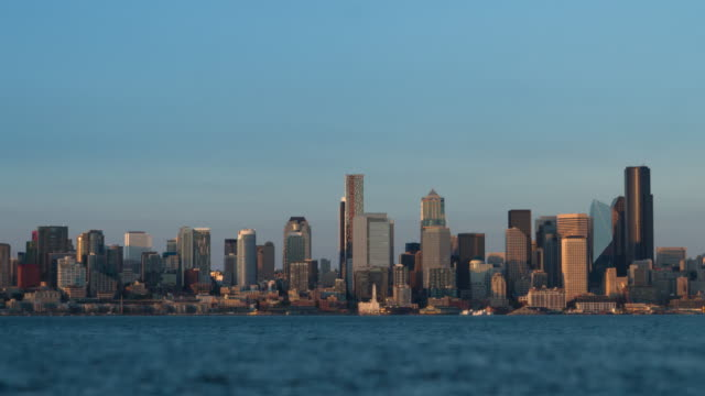 seattle downtown skyscrapers at sunset - seattle stock videos & royalty-free footage