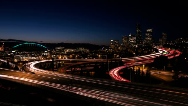 vídeos de stock e filmes b-roll de seattle freeway exposição longa - long exposure