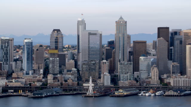 aerial seattle great wheel and the business district from elliott bay - elliott bay stock videos & royalty-free footage