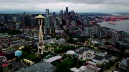 Seattle in morning twilight aerial hyper lapse zooming out