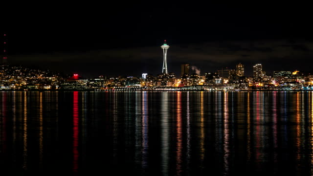 seattle night time lapse - space needle stock videos & royalty-free footage