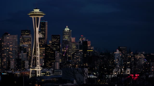 seattle skyline at night - space needle stock videos & royalty-free footage