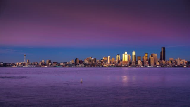 seattle skyline from alki - day to night time lapse - seattle stock videos & royalty-free footage